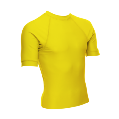 Unisex Short Sleeve Rash Guard, Yellow