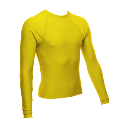 Unisex Long Sleeve Rash Guard, Yellow