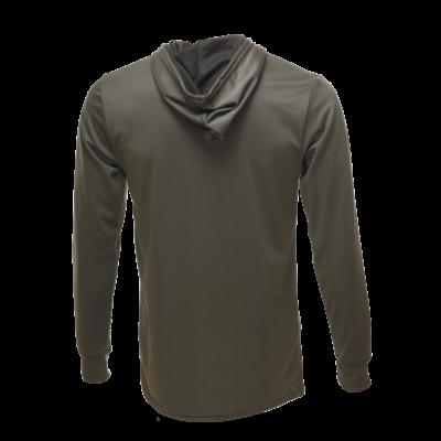 Unisex Long Sleeve Hoodie Bamboo Dry Shirt Back, Olive