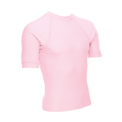 Unisex Short Sleeve Rash Guard, Light Pink